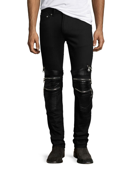 God's Masterful Children Chain Biker Skinny Jeans, Black