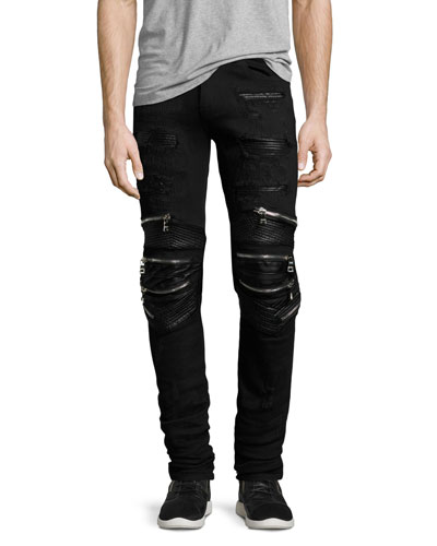 Radburn Patchwork Distressed Biker Jeans, Black