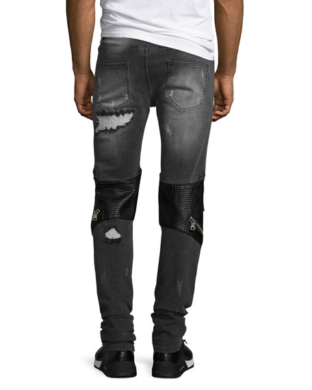 Radburn Patchwork Distressed Biker Jeans, Gray