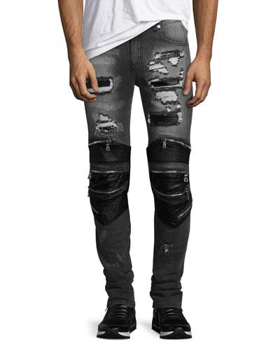 Radburn Patchwork Distressed Biker Jeans, Gray