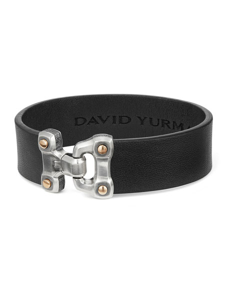 David Yurman Men's 18.5mm Anvil Wide Leather Bracelet,