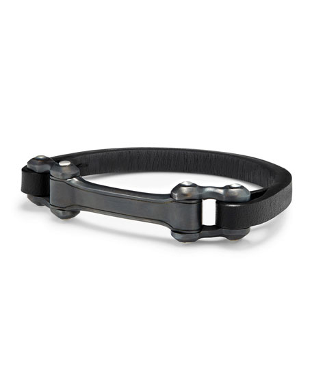 David Yurman Men's 6.5mm Leather Anvil ID Bracelet,
