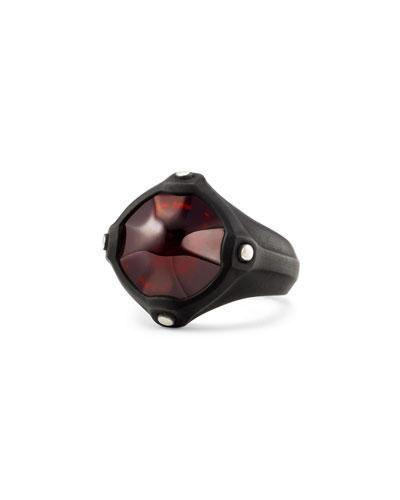 Men's Anvil Signet Ring with Hessonite Garnet