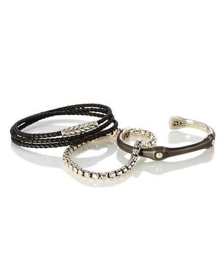 Men's 10.5mm Anvil Sterling Silver & Stainless Steel Cuff Bracelet
