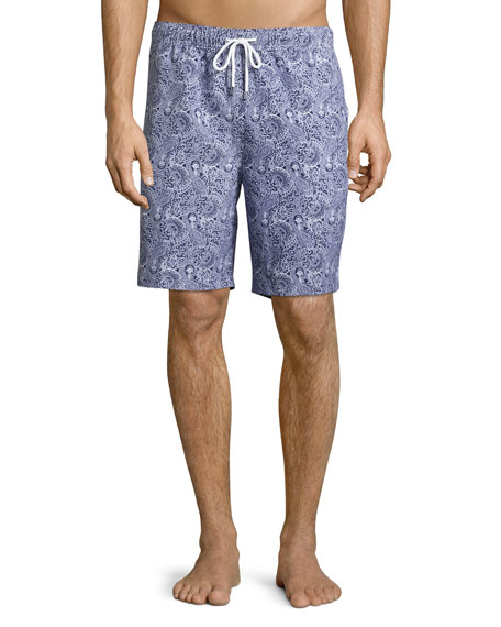 Peter Millar Paisley Swim Trunks, Navy