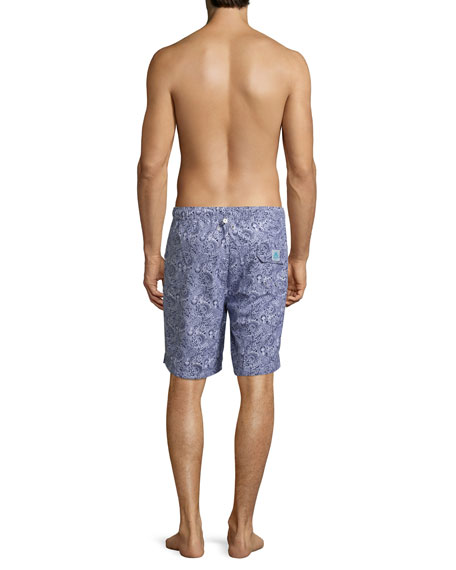 Paisley Swim Trunks, Navy