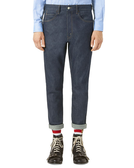 Stretch-Denim Slim Pants w/Tiger, Blue