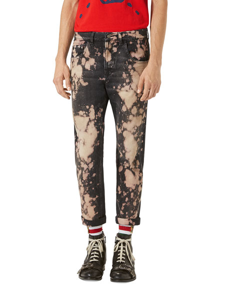 Gucci Bleached Denim Tapered Pants, Black