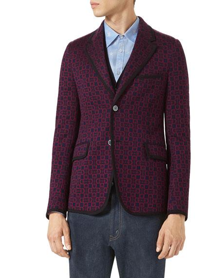 Gucci Horsebit Jacquard Jersey Jacket, Navy/Burgundy