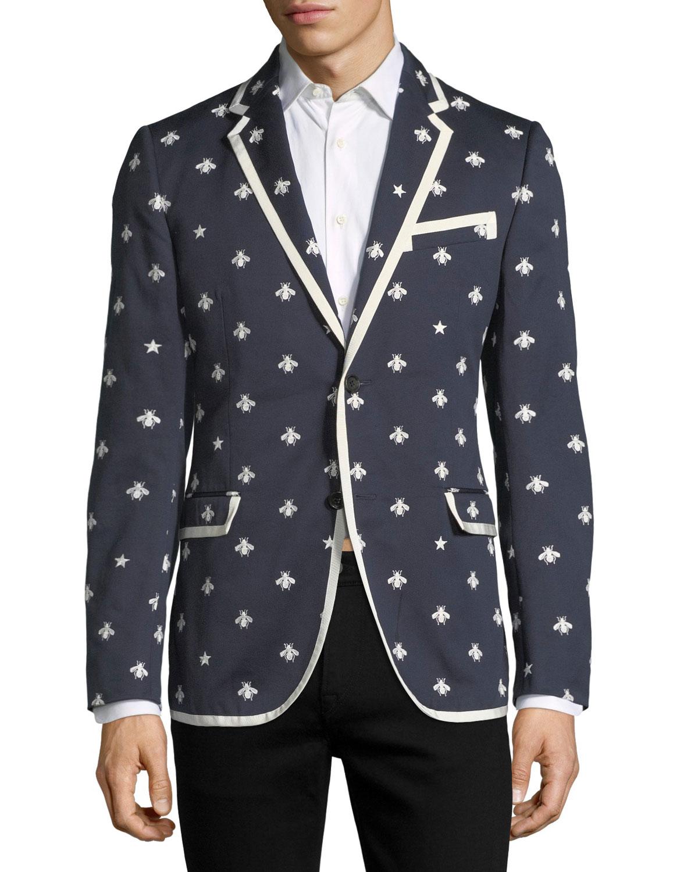 ba814f71f Gucci Tipped Cotton Blazer w/ Bees & Stars | Neiman Marcus