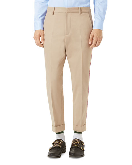 Gucci Brushed Cotton Chino Pants, Oatmeal