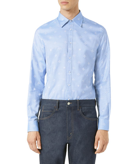 Gucci Bee Jacquard Oxford Duke Shirt, Light Blue