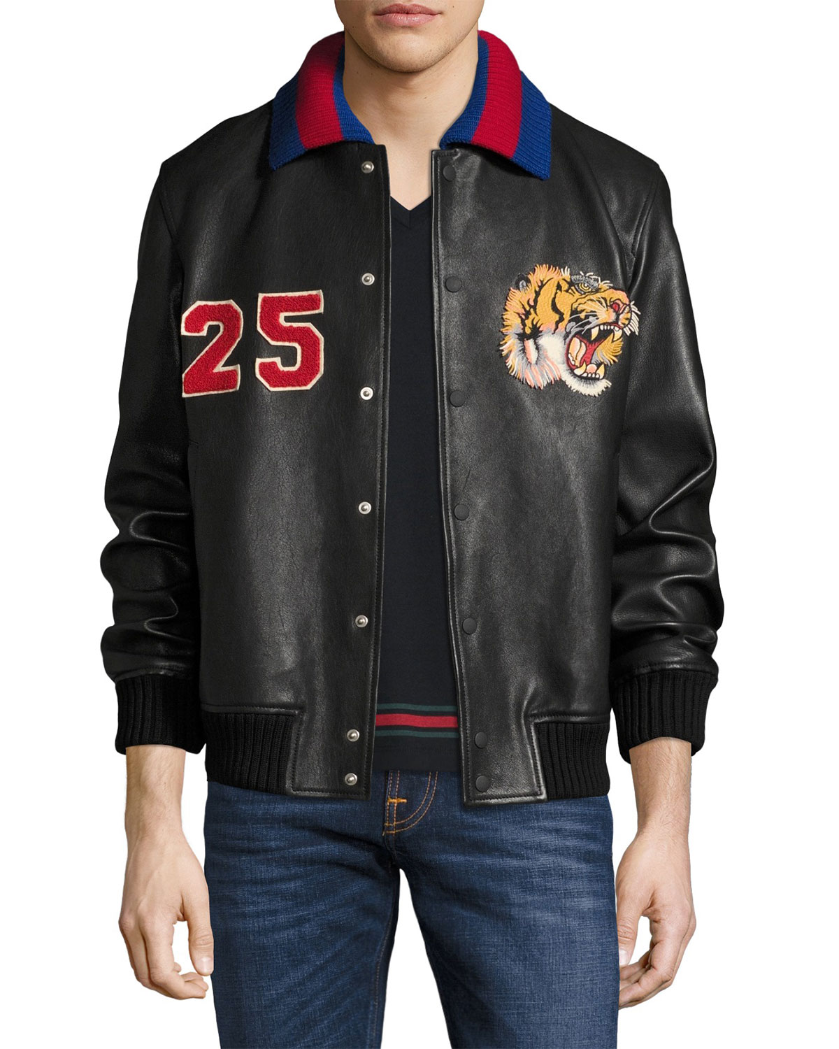 Gucci Leather Bomber Jacket w Embroideries 66e4f17b9957