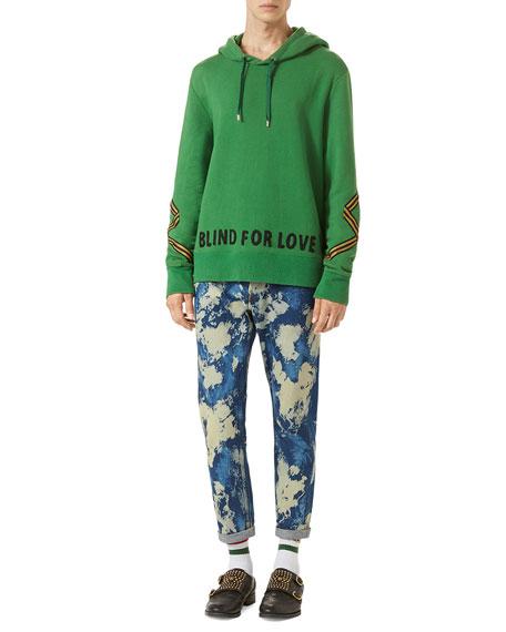 Cotton Hoodie Sweatshirt w/Appliqué, Green