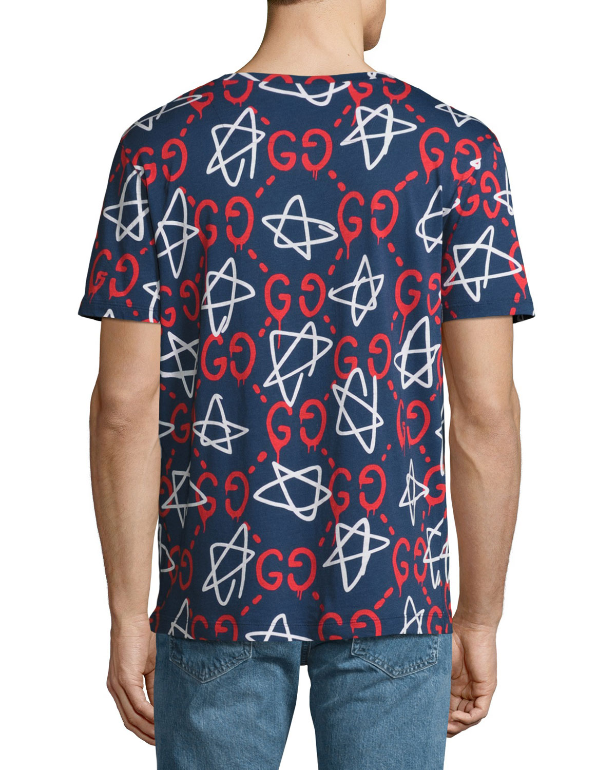 ae46f035 Gucci GucciGhost Star T-Shirt, Navy | Neiman Marcus