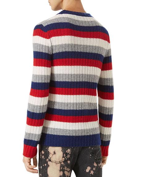 Striped Cashmere Crewneck Sweater, Red