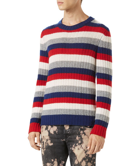 Striped Cashmere Crewneck Sweater, Red