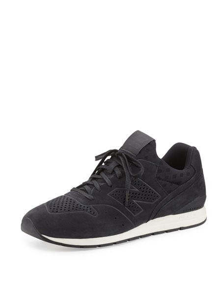 New Balance 696 Deconstructed Lace-Up Sneaker, Black