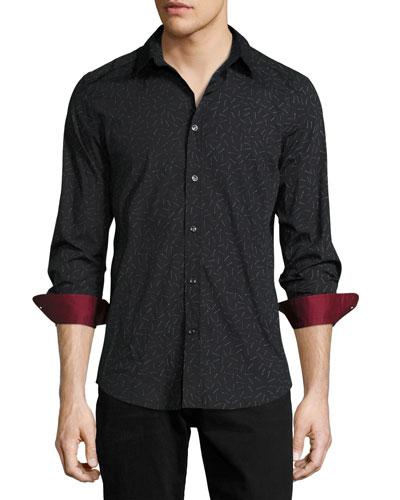 Match-Print Woven Sport Shirt, Black