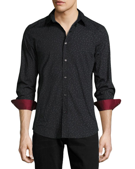 Diesel Match-Print Woven Sport Shirt, Black