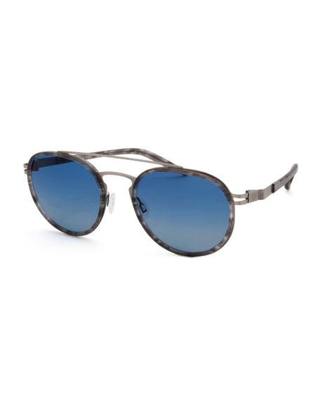 Men's Acetate & Stainless Steel Aviator Sunglasses, Matte Gray Tortoiseshell