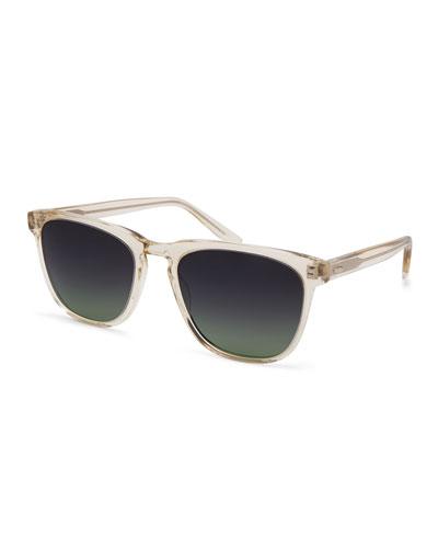 Cutrone Polarized Classic Square Sunglasses  Clear Champagne/Poison
