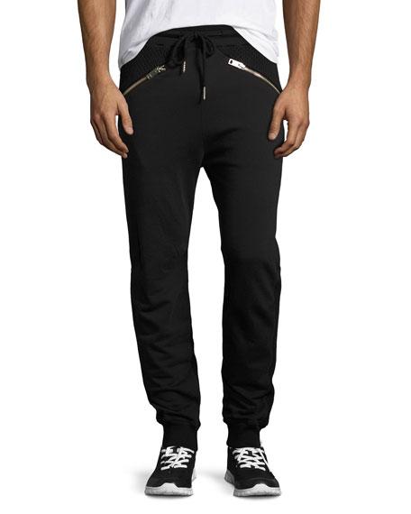 Diesel Net-Panel Zip-Pocket Jogger Pants, Black