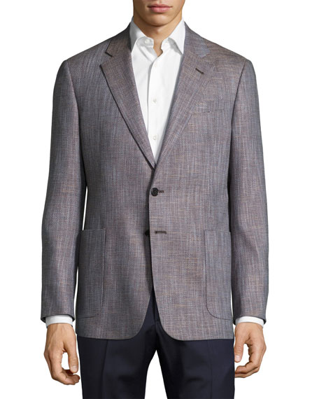Giorgio Armani Solaro Crosshatch Two-Button Sport Coat, Brown