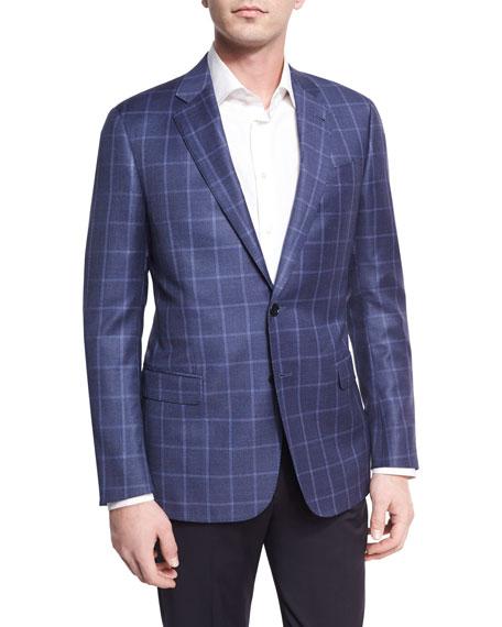 Tonal Windowpane Virgin Wool Two-Button Sport Coat, Light Blue