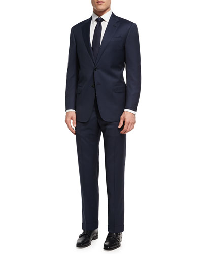 Tonal Micro-Check Virgin Wool Two-Piece Suit, Navy