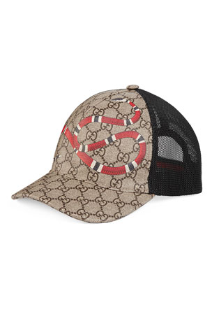 Gucci Snake-Print GG Supreme Baseball Hat, Brown