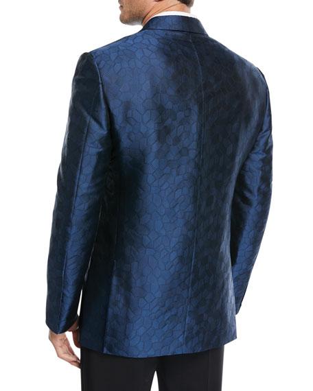 Textured-Pattern Silk Dinner Jacket