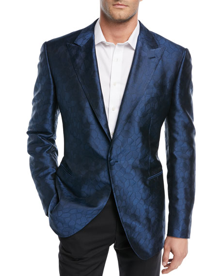 STEFANO RICCI Textured-Pattern Silk Dinner Jacket in Blue