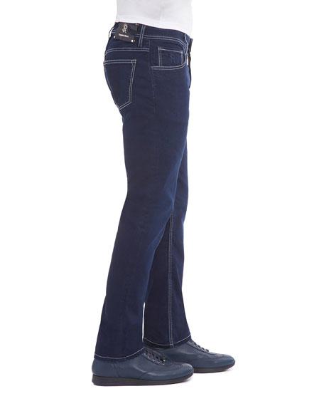 Contrast-Stitch Denim Jeans with Lizard Patch, Dark Blue
