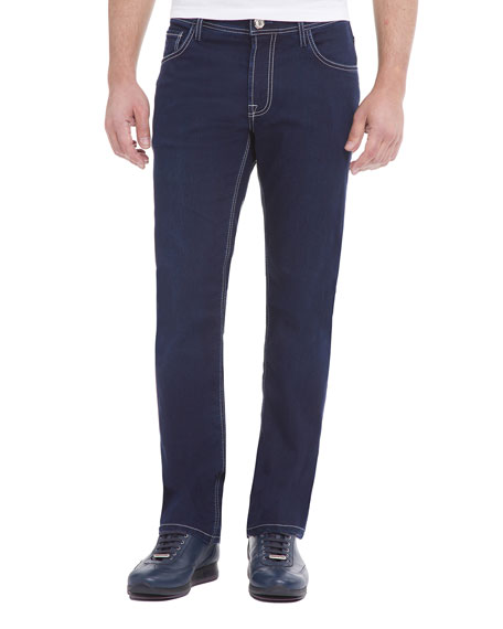 Stefano Ricci Contrast-Stitch Denim Jeans with Lizard Patch,