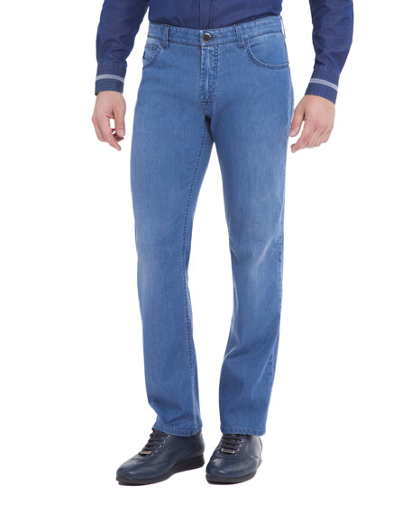 Straight-Leg Denim Jeans, Light Wash Blue