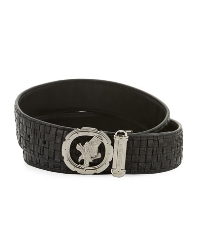 Men's New Eagle Woven Crocodile Belt