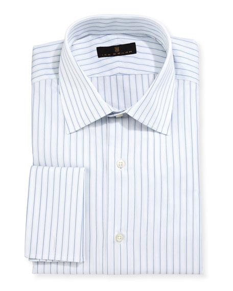 Ike Behar Gold Label Striped Dress Shirt, White/Blue