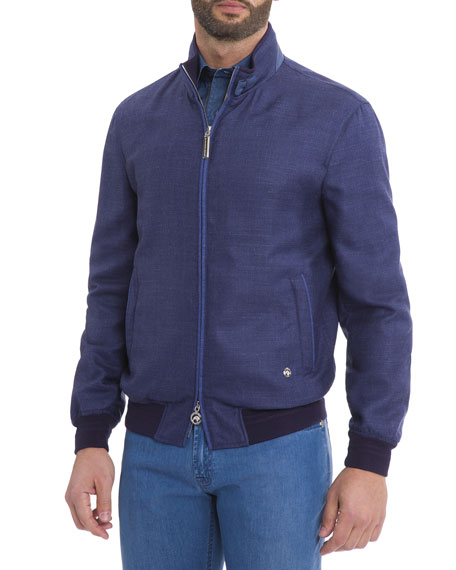 Wool-Blend Bomber Jacket, Navy
