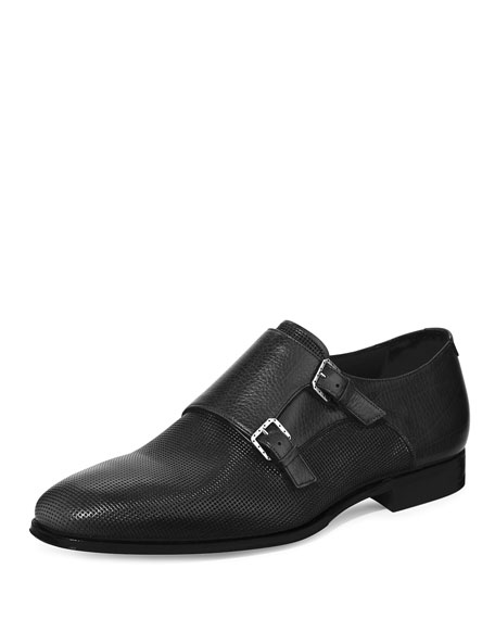 Stefano Ricci Leather Double Monk-Strap Loafer, Black
