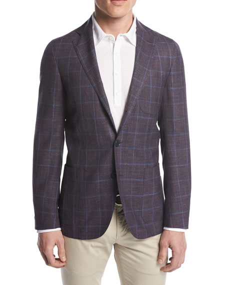 Loro Piana Andorra Windowpane Two-Button Sport Coat