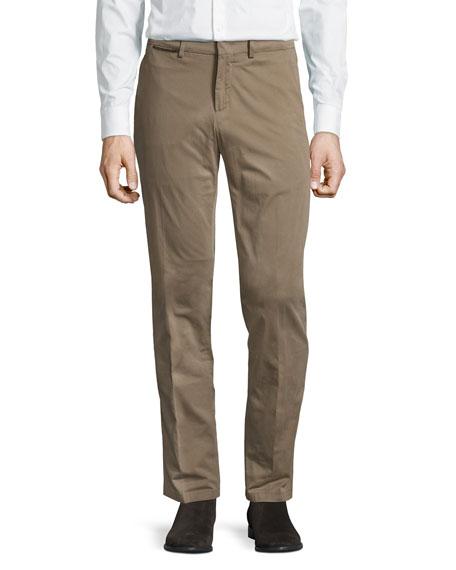 Loro Piana Straight-Leg Stretch-Cotton Pants, Dark Beige