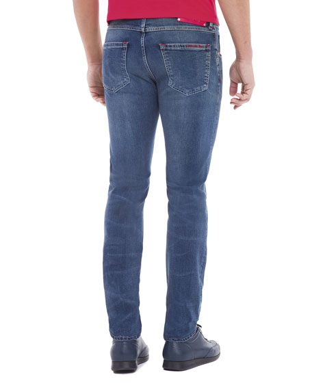 Contrast-Stitch Skinny Denim Jeans, Light Wash Blue/Red