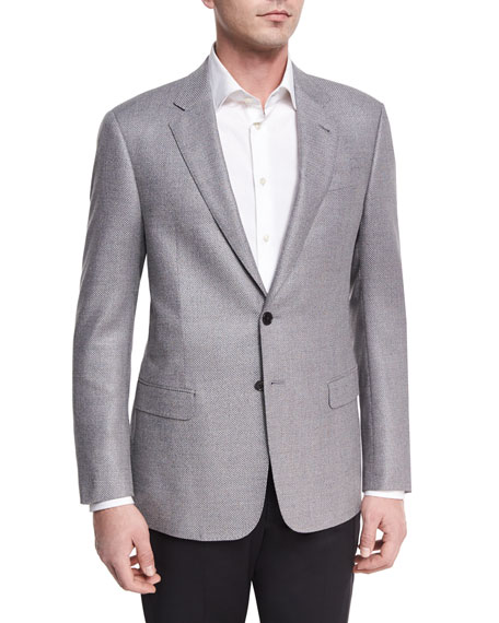 Giorgio Armani Textured Two-Button Sport Coat, Light Gray