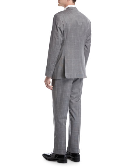 Windowpane Check Virgin Wool Two-Piece Suit