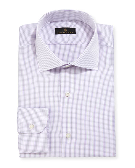 Ike Behar Gold Label Micro-Gingham Dress Shirt, Purple