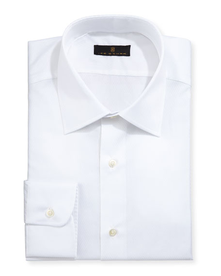 Ike Behar Gold Label Diagonal-Textured Dress Shirt, White