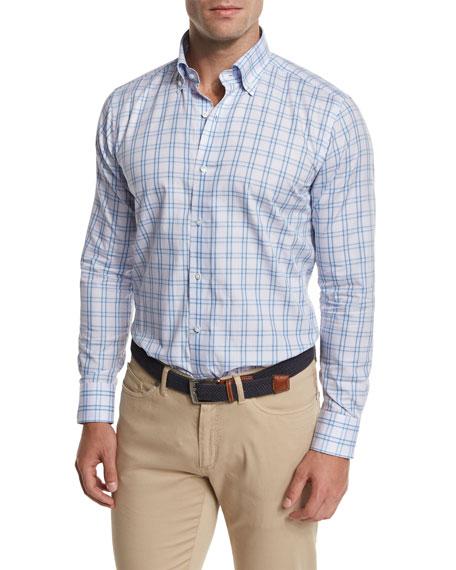 Peter Millar Gion Check Sport Shirt, Light Blue
