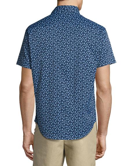 Frenchman Performance Floral-Print Short-Sleeve Sport Shirt, Navy