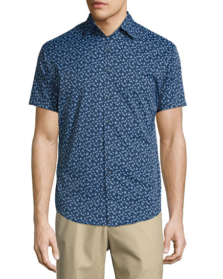 Peter Millar Frenchman Performance Floral-Print Short-Sleeve